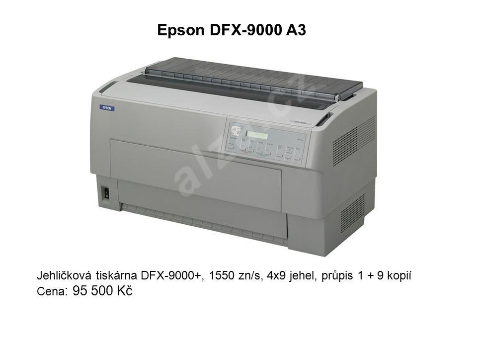 Epson DFX-9000 A3 Jehličková tiskárna DFX-9000+, 1550 zn/s, 4x9 jehel, průpis 1 + 9 kopií Cena : 95 500 Kč