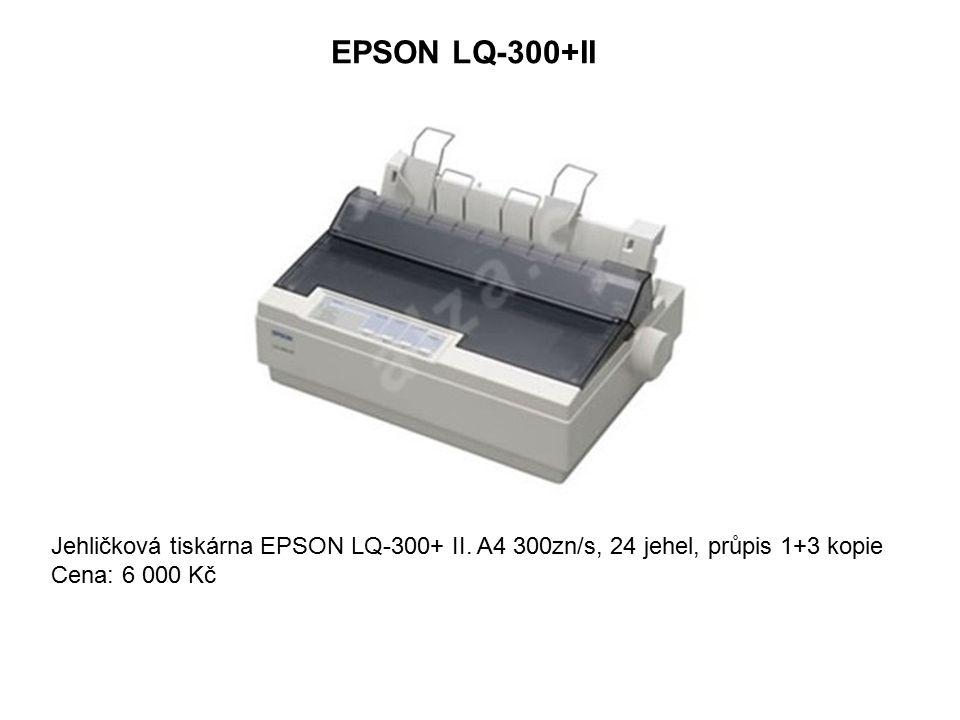 EPSON LQ-300+II Jehličková tiskárna EPSON LQ-300+ II. A4 300zn/s, 24 jehel, průpis 1+3 kopie Cena: 6 000 Kč