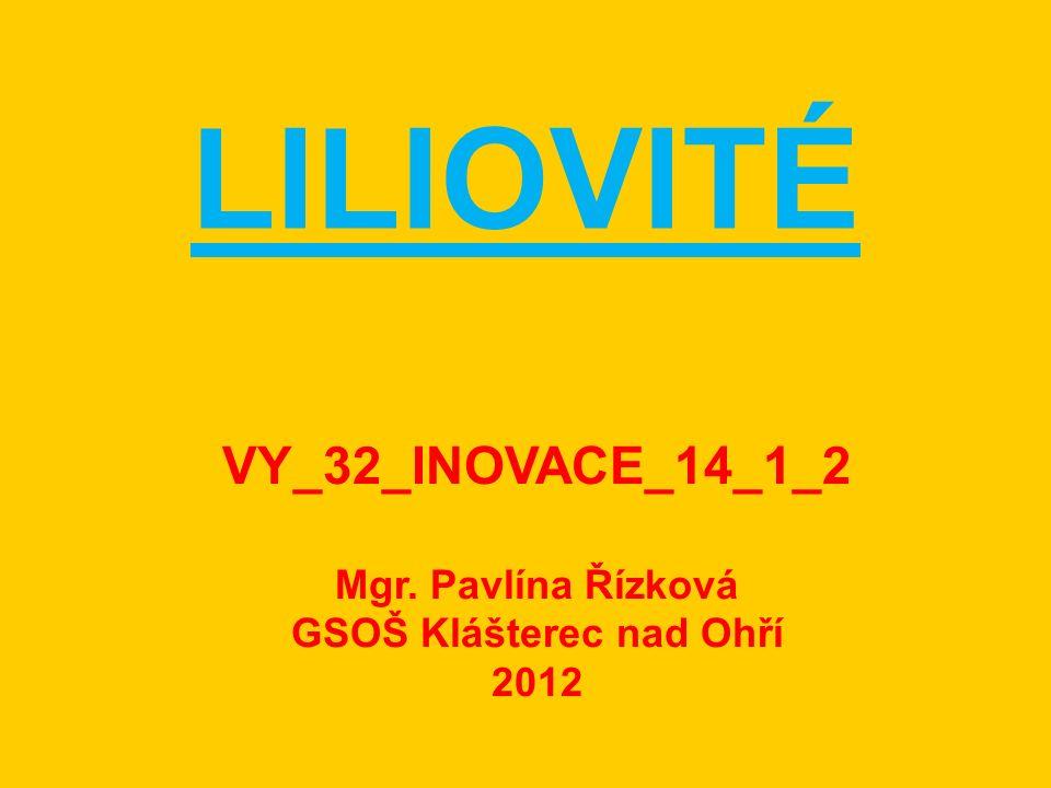 LILIOVITÉ VY_32_INOVACE_14_1_2 Mgr. Pavlína Řízková GSOŠ Klášterec nad Ohří 2012