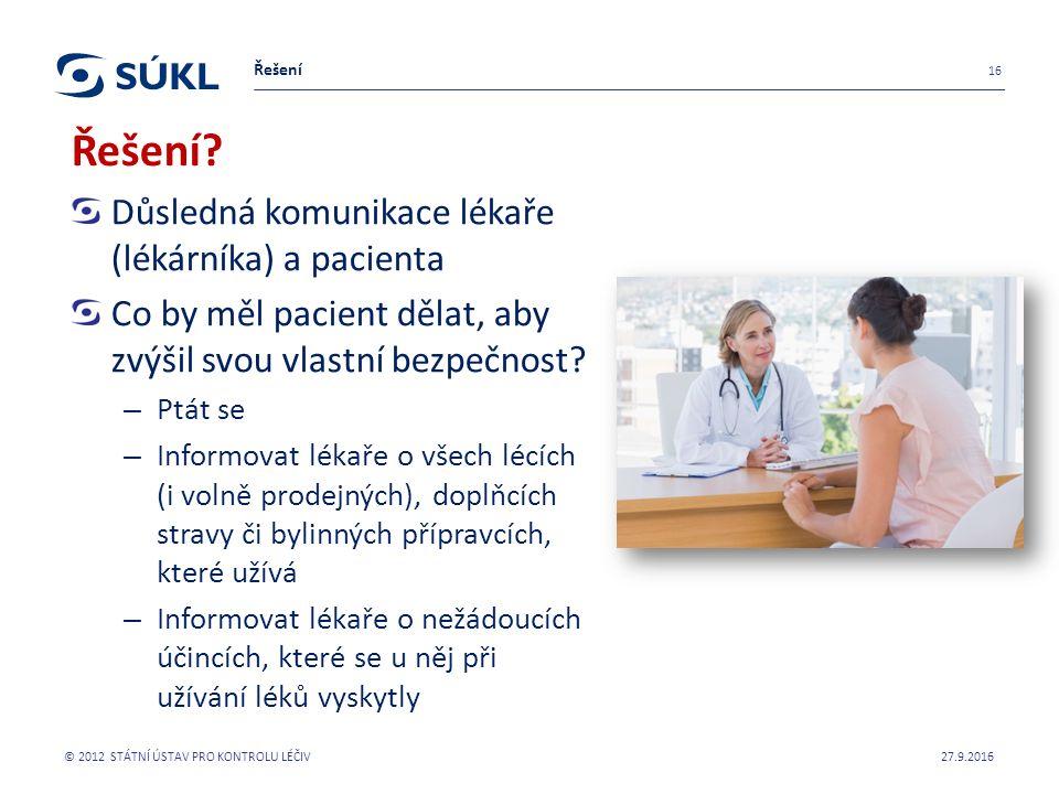 Důsledná komunikace lékaře (lékárníka) a pacienta Co by měl pacient dělat, aby zvýšil svou vlastní bezpečnost.