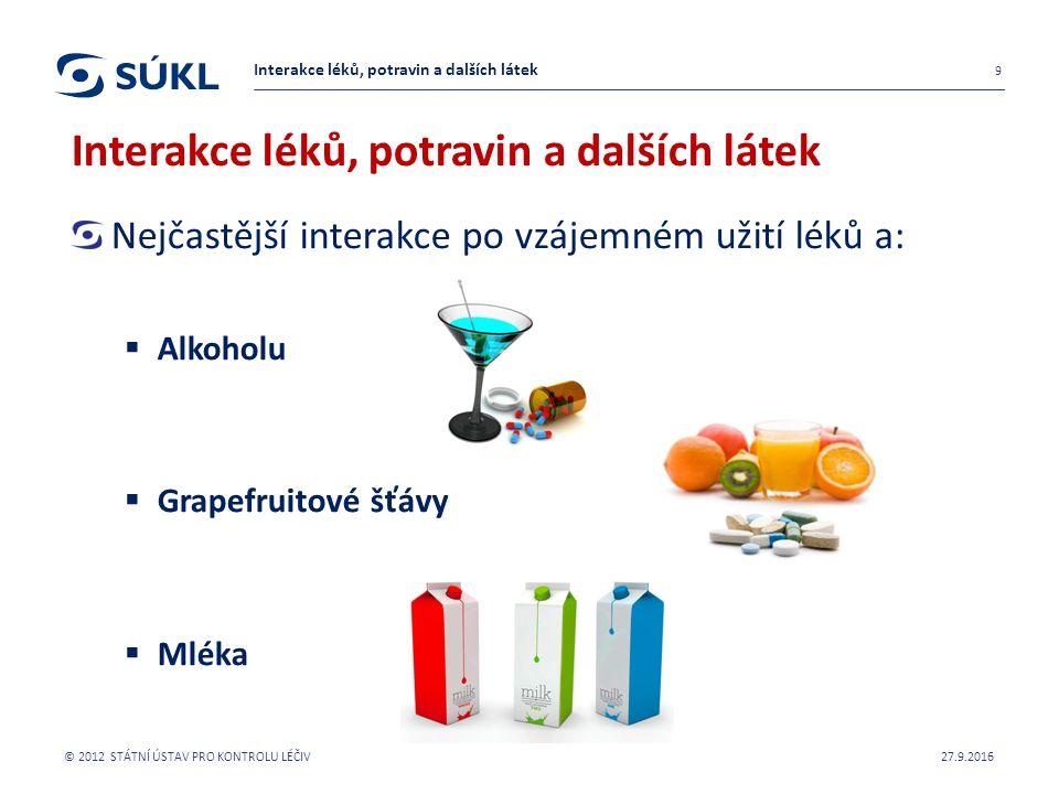 Nejčastější interakce po vzájemném užití léků a:  Alkoholu  Grapefruitové šťávy  Mléka 27.9.2016 © 2012 STÁTNÍ ÚSTAV PRO KONTROLU LÉČIV 9 Interakce léků, potravin a dalších látek