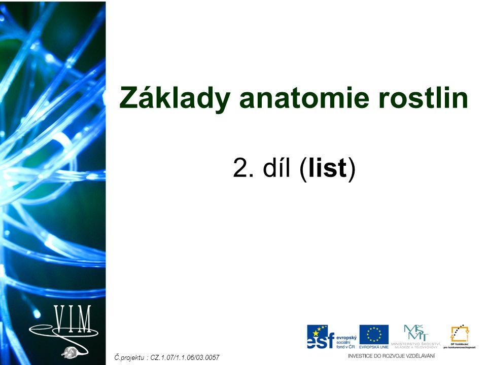 Č.projektu : CZ.1.07/1.1.06/03.0057 Základy anatomie rostlin 2. díl (list)