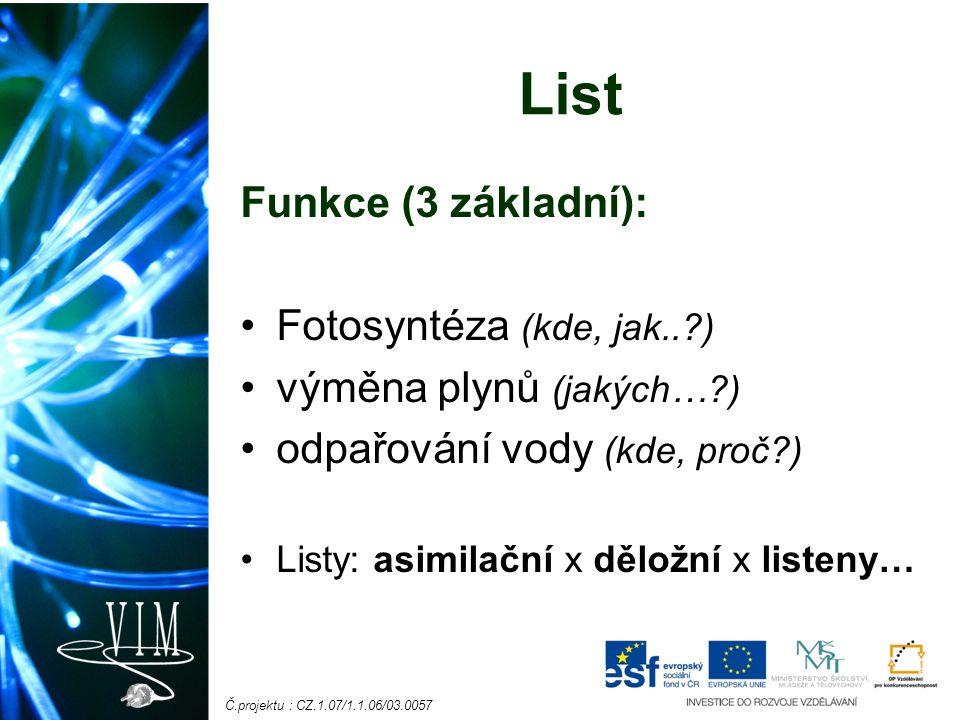 Č.projektu : CZ.1.07/1.1.06/03.0057 Anatomická stavba listu