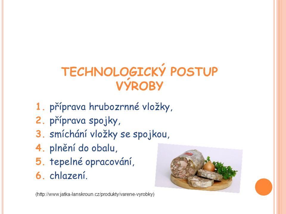 TECHNOLOGICKÝ POSTUP VÝROBY 1. příprava hrubozrnné vložky, 2.