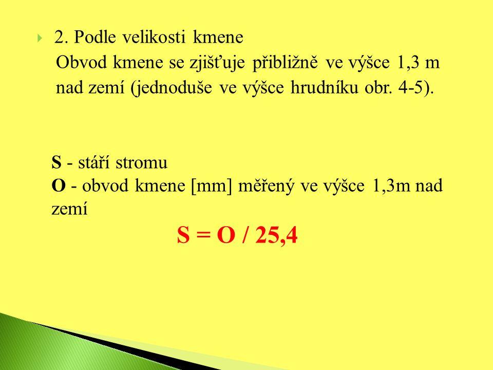  2. Podle velikosti kmene Obvod kmene se zjišťuje přibližně ve výšce 1,3 m nad zemí (jednoduše ve výšce hrudníku obr. 4-5). S - stáří stromu O - obvo