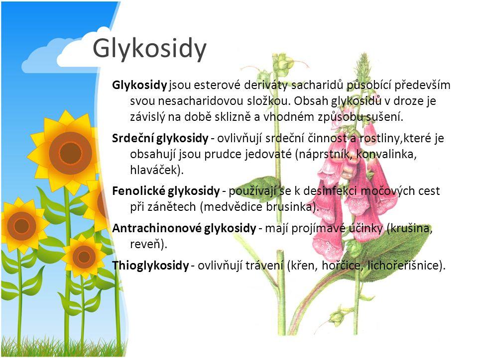 Glykosidy Glykosidy jsou esterové deriváty sacharidů působící především svou nesacharidovou složkou. Obsah glykosidů v droze je závislý na době sklizn