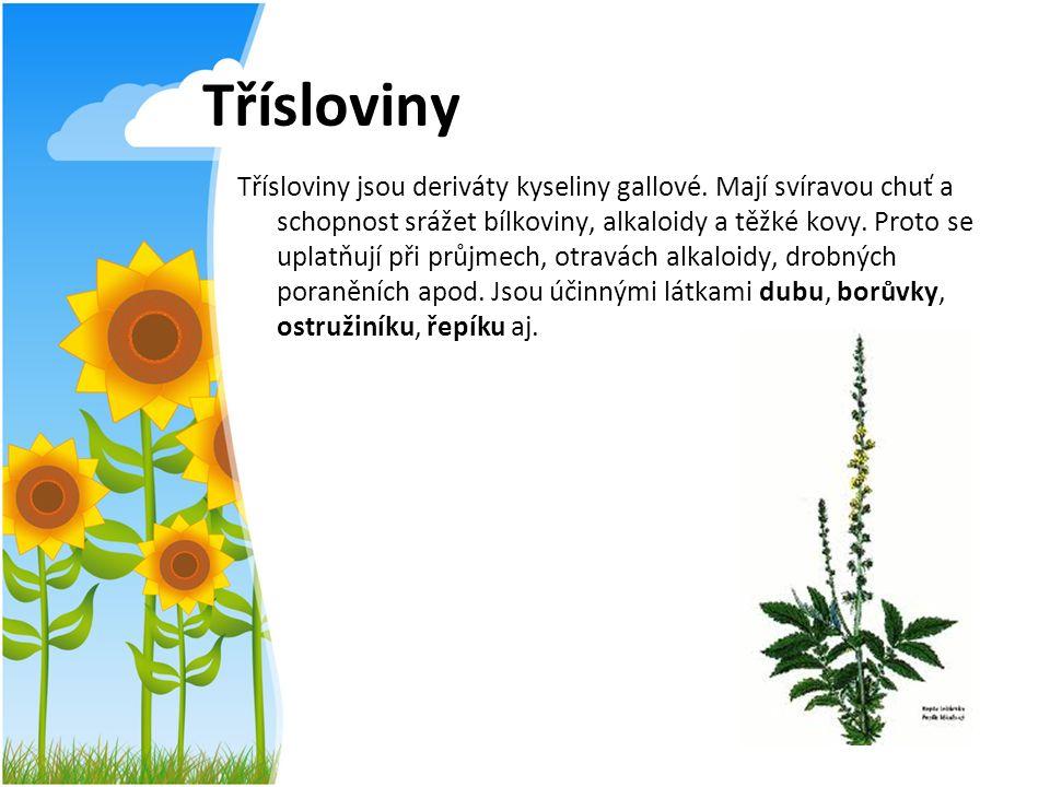 Třísloviny Třísloviny jsou deriváty kyseliny gallové. Mají svíravou chuť a schopnost srážet bílkoviny, alkaloidy a těžké kovy. Proto se uplatňují při