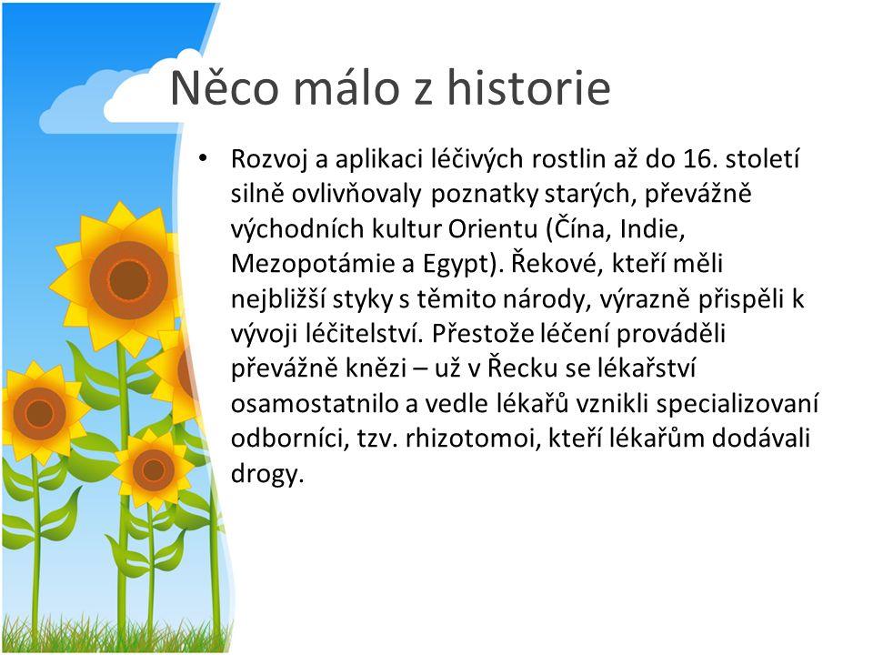 Něco málo z historie Rozvoj a aplikaci léčivých rostlin až do 16. století silně ovlivňovaly poznatky starých, převážně východních kultur Orientu (Čína