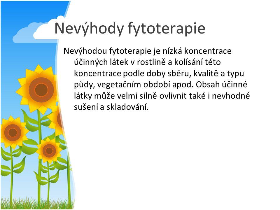 Nevýhody fytoterapie Nevýhodou fytoterapie je nízká koncentrace účinných látek v rostlině a kolísání této koncentrace podle doby sběru, kvalitě a typu