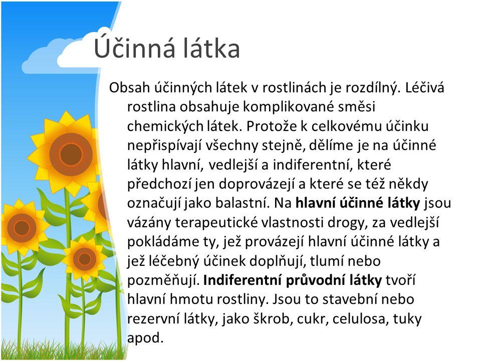 Účinná látka Obsah účinných látek v rostlinách je rozdílný. Léčivá rostlina obsahuje komplikované směsi chemických látek. Protože k celkovému účinku n