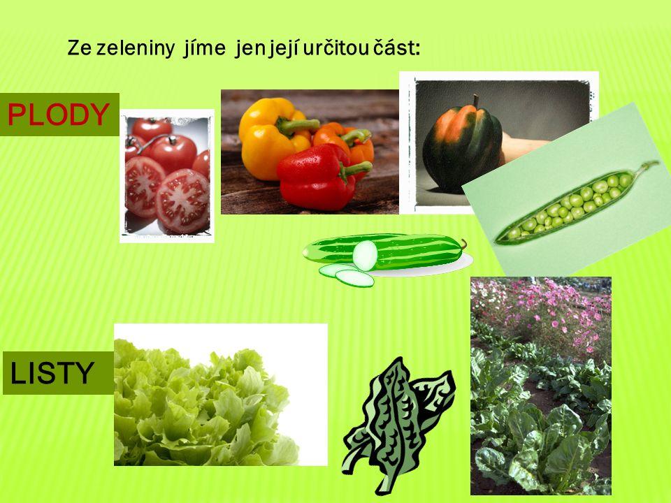 Ze zeleniny jíme jen její určitou část: PLODY LISTY