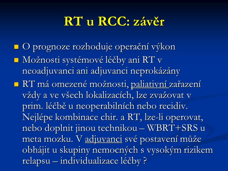 RT u RCC: závěr O prognoze rozhoduje operační výkon O prognoze rozhoduje operační výkon Možnosti systémové léčby ani RT v neoadjuvanci ani adjuvanci neprokázány Možnosti systémové léčby ani RT v neoadjuvanci ani adjuvanci neprokázány RT má omezené možnosti, paliativní zařazení vždy a ve všech lokalizacích, lze zvažovat v prim.