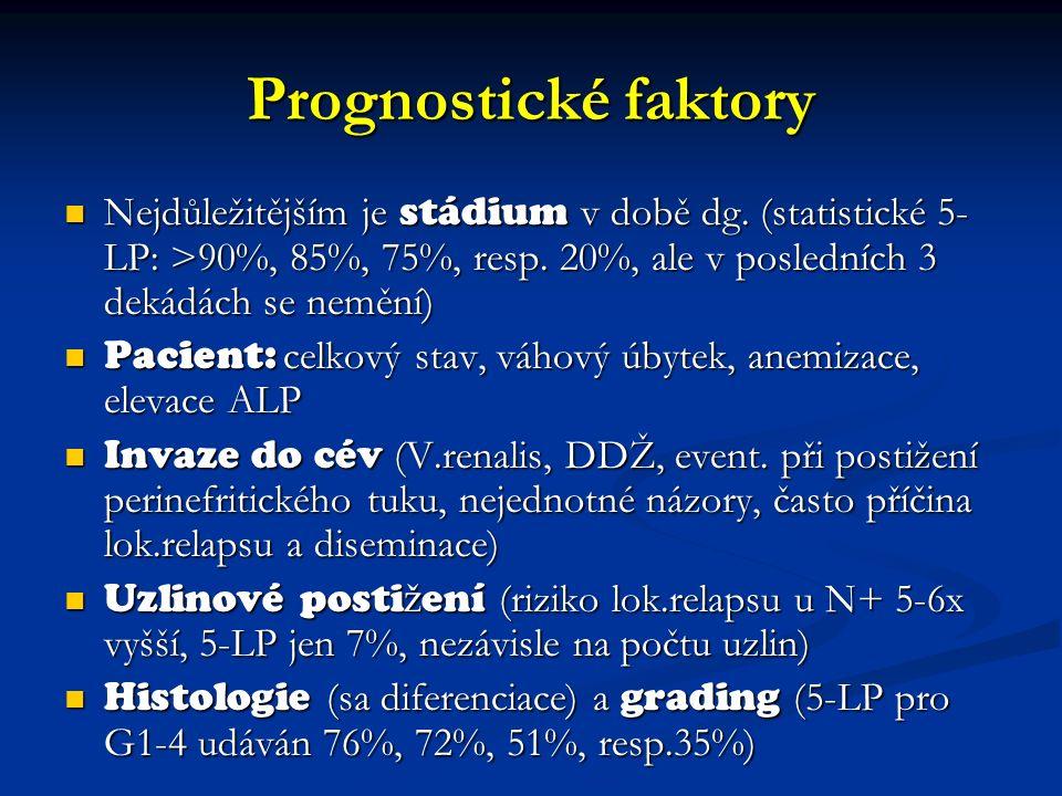 Prognostické faktory Nejdůležitějším je stádium v době dg.