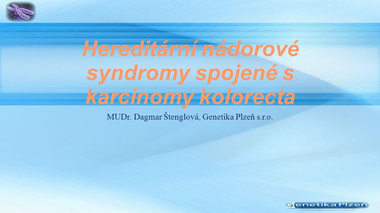 Hereditární nádorové syndromy spojené s karcinomy kolorecta MUDr.