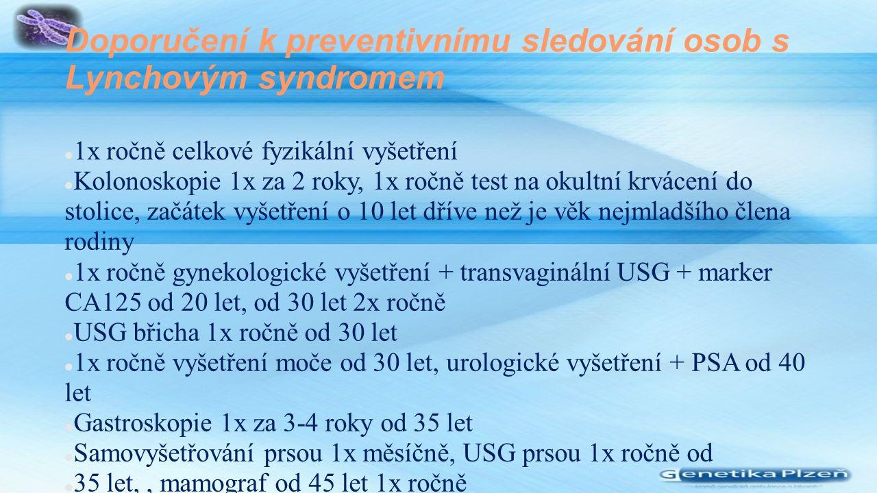 Doporučení k preventivnímu sledování osob s Lynchovým syndromem 1x ročně celkové fyzikální vyšetření Kolonoskopie 1x za 2 roky, 1x ročně test na okultní krvácení do stolice, začátek vyšetření o 10 let dříve než je věk nejmladšího člena rodiny 1x ročně gynekologické vyšetření + transvaginální USG + marker CA125 od 20 let, od 30 let 2x ročně USG břicha 1x ročně od 30 let 1x ročně vyšetření moče od 30 let, urologické vyšetření + PSA od 40 let Gastroskopie 1x za 3-4 roky od 35 let Samovyšetřování prsou 1x měsíčně, USG prsou 1x ročně od 35 let,, mamograf od 45 let 1x ročně