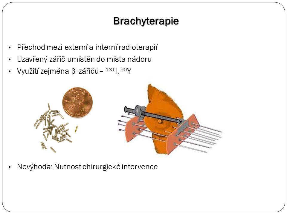Brachyterapie Přechod mezi externí a interní radioterapií Uzavřený zářič umístěn do místa nádoru Využití zejména β - zářičů– 131 I, 90 Y Nevýhoda: Nutnost chirurgické intervence