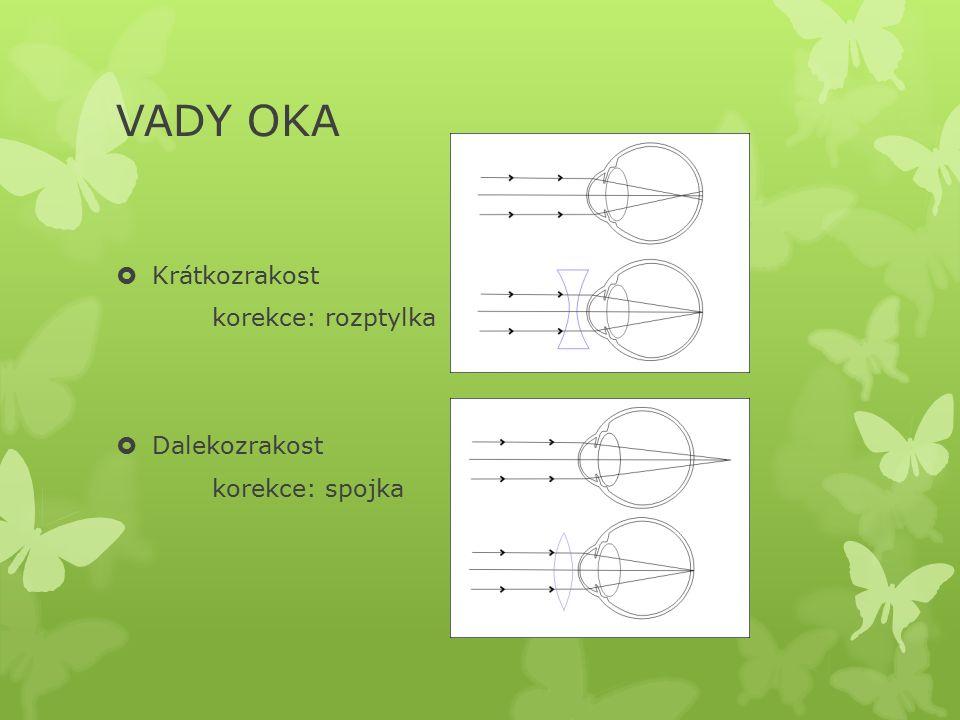VADY OKA  Krátkozrakost korekce: rozptylka  Dalekozrakost korekce: spojka