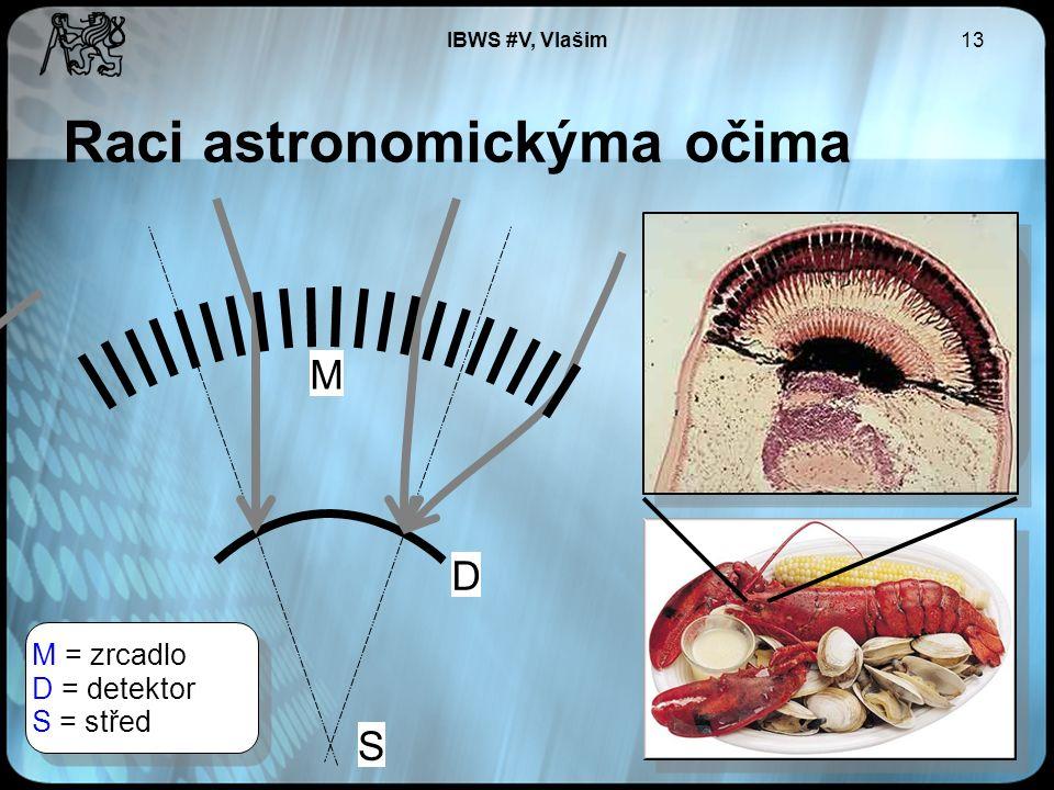 IBWS #V, Vlašim13 Raci astronomickýma očima D S M M = zrcadlo D = detektor S = střed M = zrcadlo D = detektor S = střed Široké zorné pole Malý úhel odrazu Zakřivený detektor Tenká zrcadla ~0.1-1.0 mm Množství zrcadel > 10 Multi-Foil Optic Široké zorné pole Malý úhel odrazu Zakřivený detektor Tenká zrcadla ~0.1-1.0 mm Množství zrcadel > 10 Multi-Foil Optic