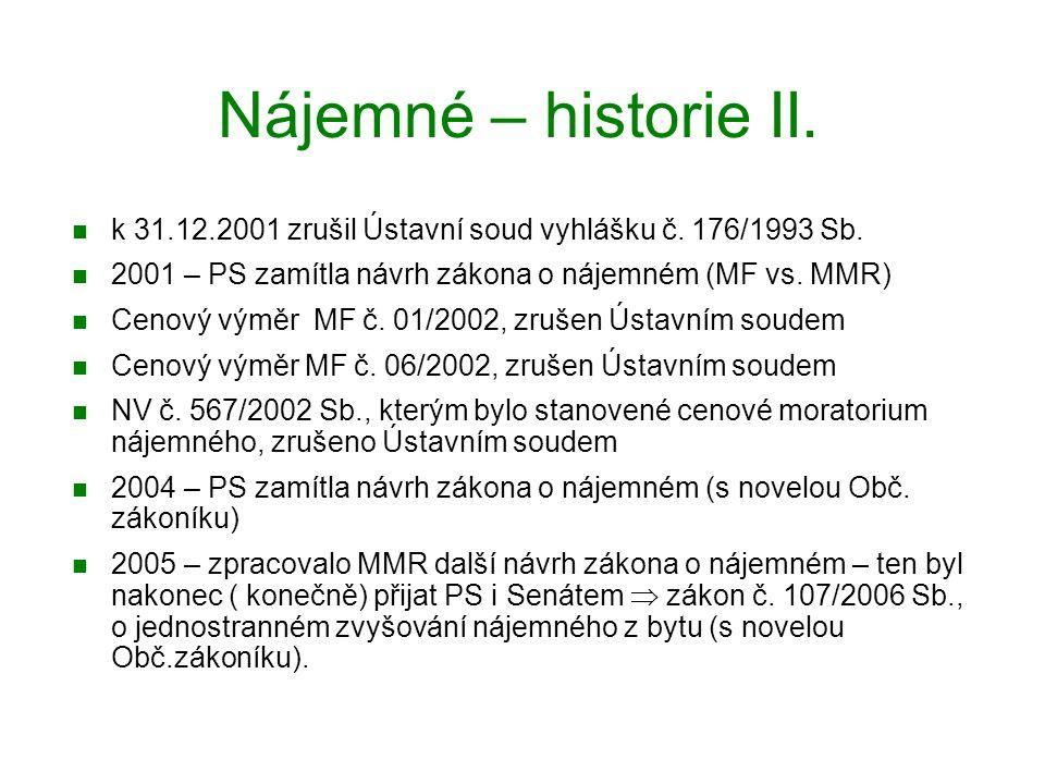 Nájemné – historie II.k 31.12.2001 zrušil Ústavní soud vyhlášku č.