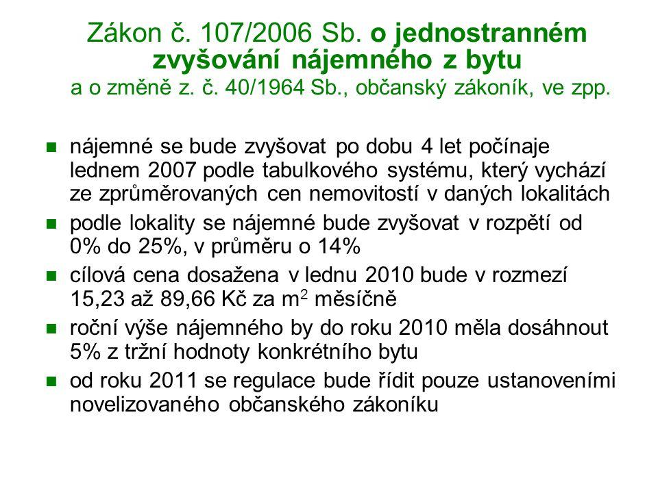 Zákon č.107/2006 Sb. o jednostranném zvyšování nájemného z bytu a o změně z.