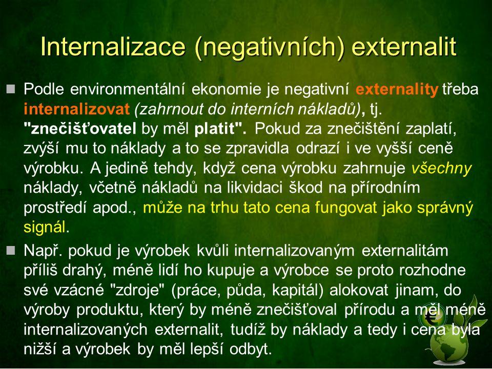 Internalizace (negativních) externalit Podle environmentální ekonomie je negativní externality třeba internalizovat (zahrnout do interních nákladů), tj.