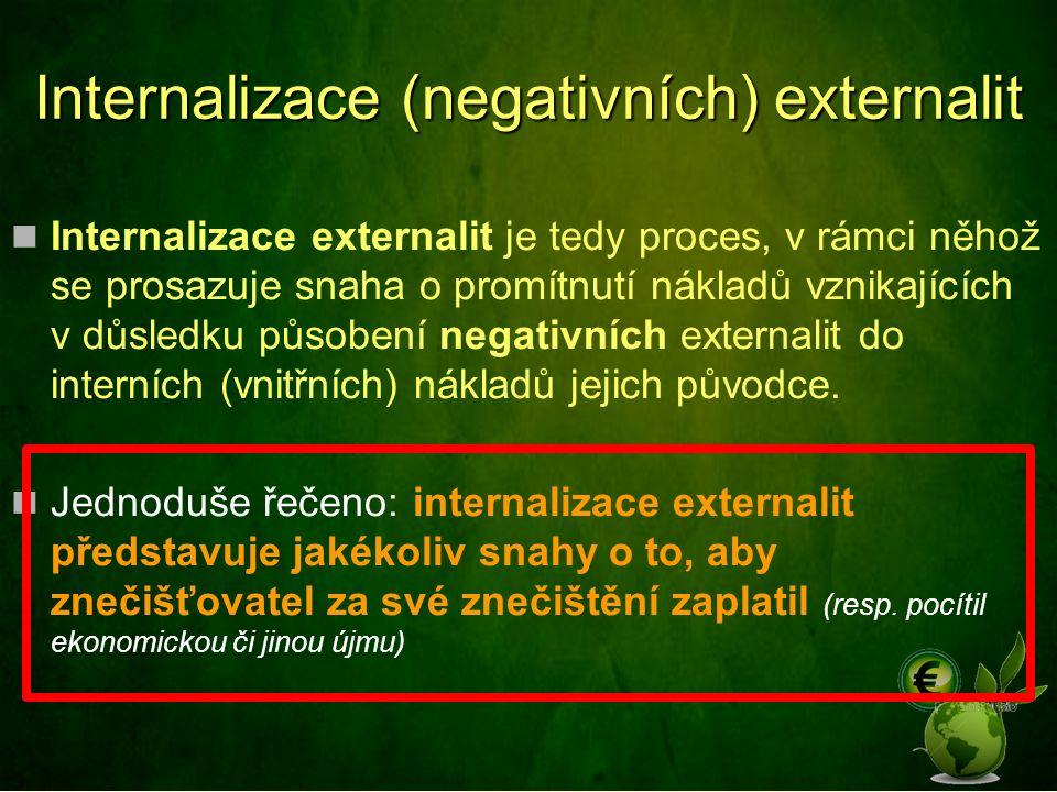 Internalizace (negativních) externalit Internalizace externalit je tedy proces, v rámci něhož se prosazuje snaha o promítnutí nákladů vznikajících v důsledku působení negativních externalit do interních (vnitřních) nákladů jejich původce.