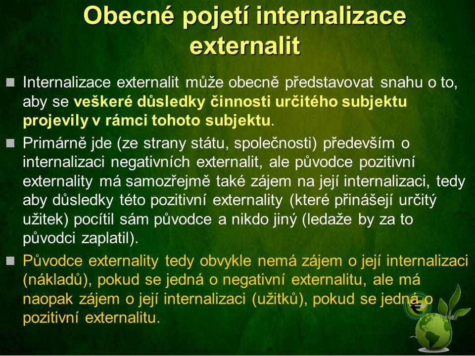 Obecné pojetí internalizace externalit Internalizace externalit může obecně představovat snahu o to, aby se veškeré důsledky činnosti určitého subjektu projevily v rámci tohoto subjektu.