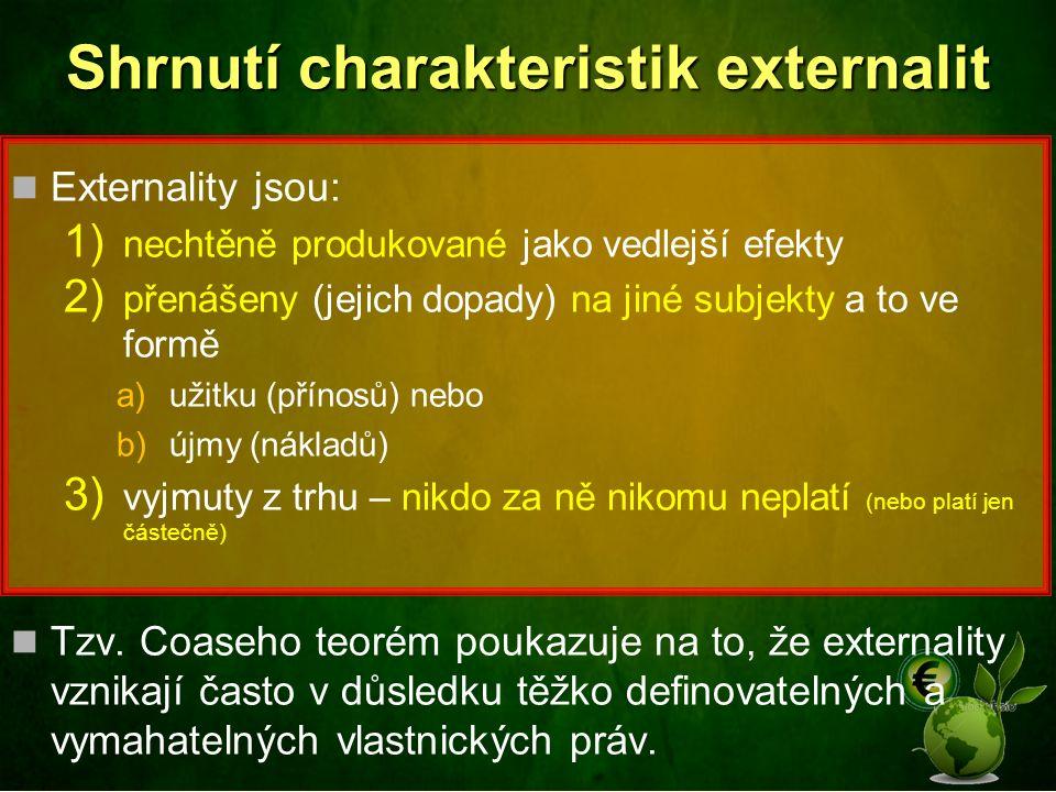 Shrnutí charakteristik externalit Externality jsou: 1) nechtěně produkované jako vedlejší efekty 2) přenášeny (jejich dopady) na jiné subjekty a to ve formě a)užitku (přínosů) nebo b)újmy (nákladů) 3) vyjmuty z trhu – nikdo za ně nikomu neplatí (nebo platí jen částečně) Tzv.