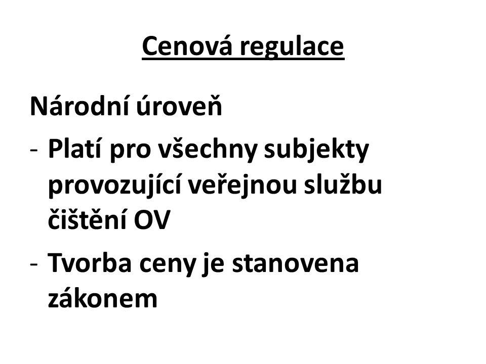 Cenová regulace Národní úroveň -Platí pro všechny subjekty provozující veřejnou službu čištění OV -Tvorba ceny je stanovena zákonem