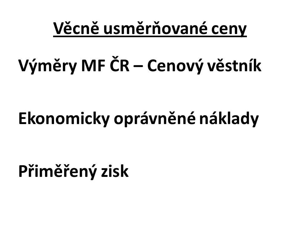 Věcně usměrňované ceny Výměry MF ČR – Cenový věstník Ekonomicky oprávněné náklady Přiměřený zisk