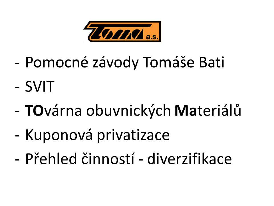 -Pomocné závody Tomáše Bati -SVIT -TOvárna obuvnických Materiálů -Kuponová privatizace -Přehled činností - diverzifikace