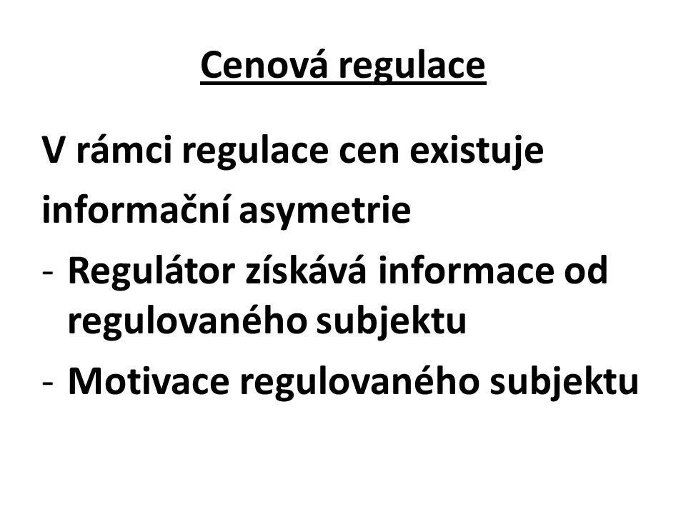 Cenová regulace V rámci regulace cen existuje informační asymetrie -Regulátor získává informace od regulovaného subjektu -Motivace regulovaného subjektu