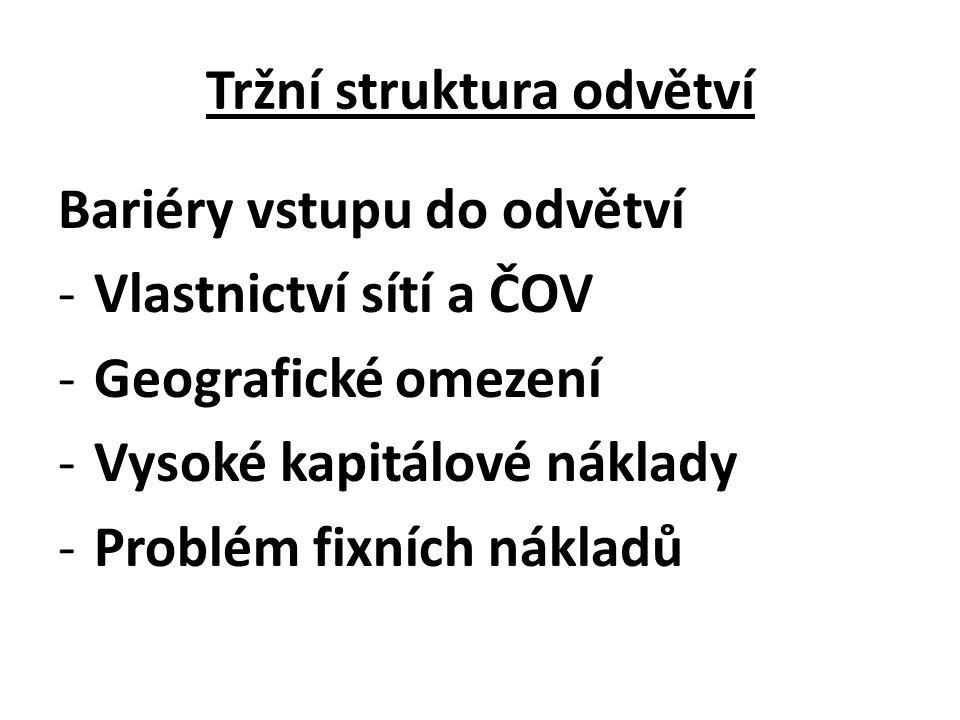 Tržní struktura odvětví Bariéry vstupu do odvětví -Vlastnictví sítí a ČOV -Geografické omezení -Vysoké kapitálové náklady -Problém fixních nákladů