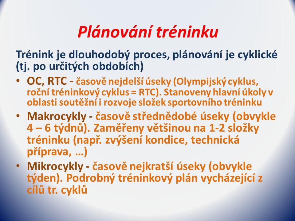 Plánování tréninku Trénink je dlouhodobý proces, plánování je cyklické (tj.