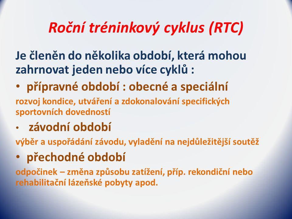Roční tréninkový cyklus (RTC) Je členěn do několika období, která mohou zahrnovat jeden nebo více cyklů : přípravné období : obecné a speciální rozvoj kondice, utváření a zdokonalování specifických sportovních dovedností závodní období výběr a uspořádání závodu, vyladění na nejdůležitější soutěž přechodné období odpočinek – změna způsobu zatížení, příp.