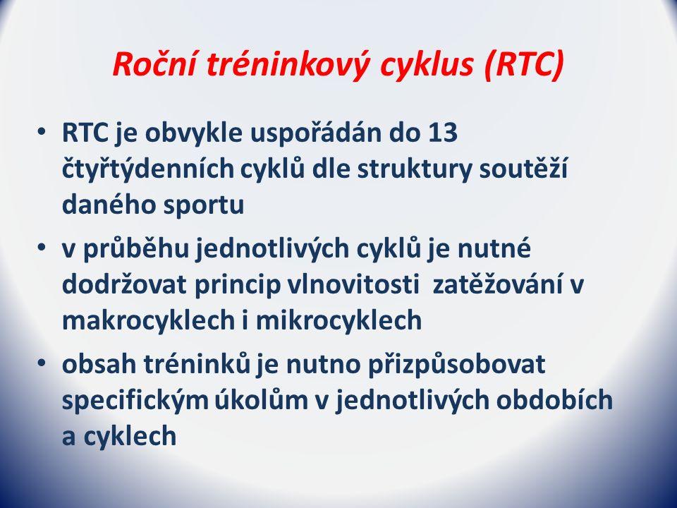 Roční tréninkový cyklus (RTC) RTC je obvykle uspořádán do 13 čtyřtýdenních cyklů dle struktury soutěží daného sportu v průběhu jednotlivých cyklů je nutné dodržovat princip vlnovitosti zatěžování v makrocyklech i mikrocyklech obsah tréninků je nutno přizpůsobovat specifickým úkolům v jednotlivých obdobích a cyklech