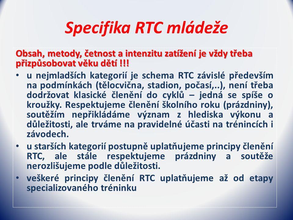 Specifika RTC mládeže Obsah, metody, četnost a intenzitu zatížení je vždy třeba přizpůsobovat věku dětí !!.