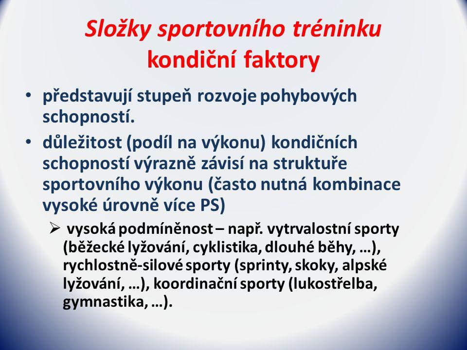 Složky sportovního tréninku kondiční faktory představují stupeň rozvoje pohybových schopností.