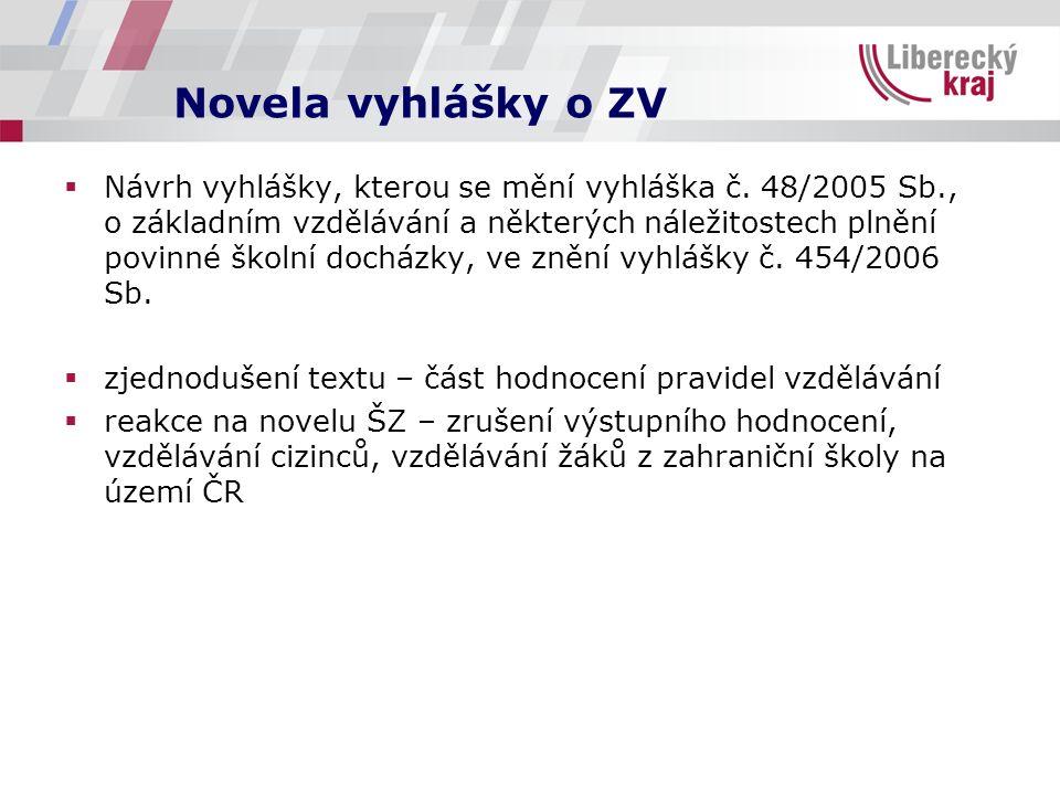 Novela vyhlášky o ZV  Návrh vyhlášky, kterou se mění vyhláška č. 48/2005 Sb., o základním vzdělávání a některých náležitostech plnění povinné školní