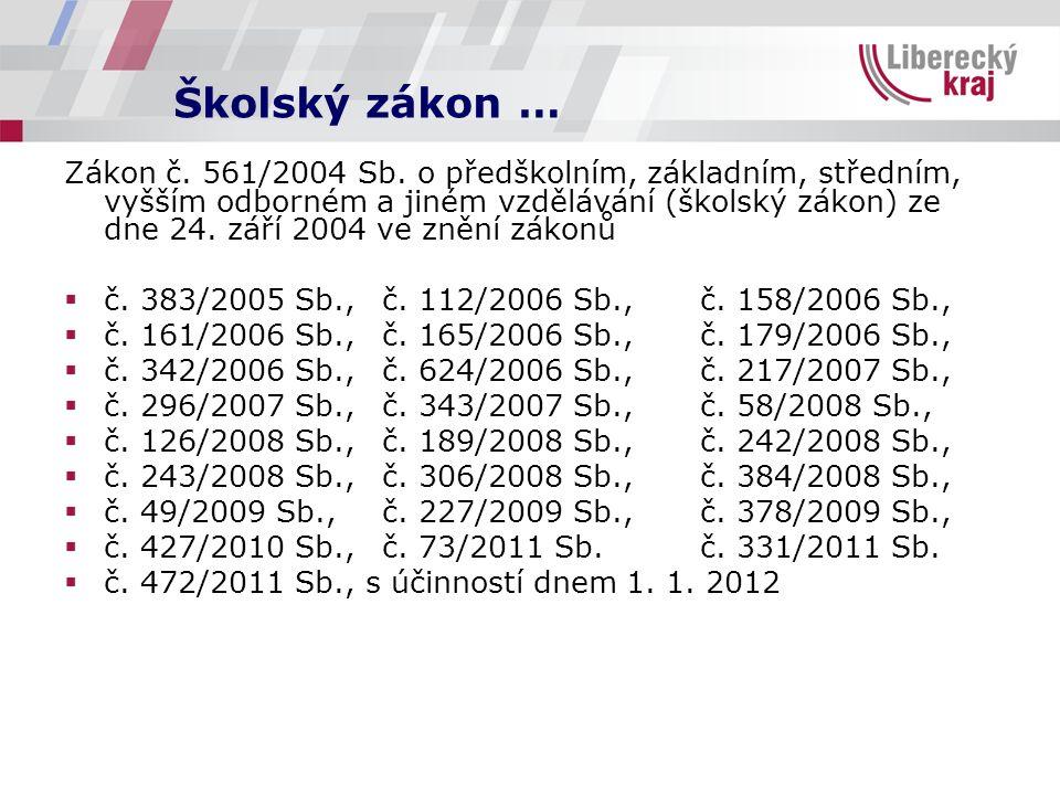 Školský zákon … Zákon č. 561/2004 Sb.