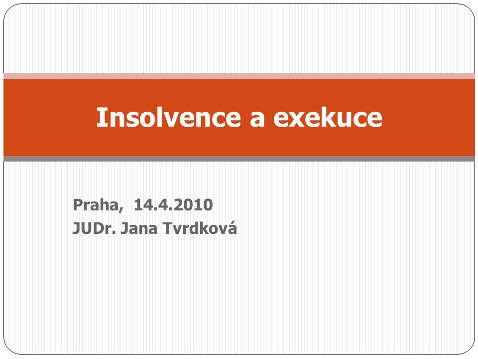 Praha, 14.4.2010 JUDr. Jana Tvrdková Insolvence a exekuce