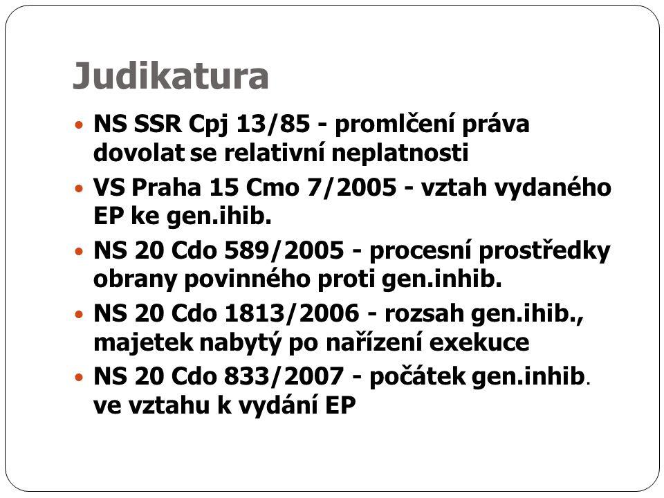 Judikatura NS SSR Cpj 13/85 - promlčení práva dovolat se relativní neplatnosti VS Praha 15 Cmo 7/2005 - vztah vydaného EP ke gen.ihib.