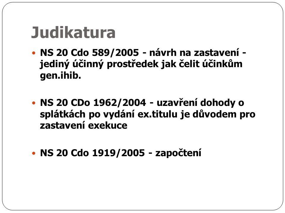 Judikatura NS 20 Cdo 589/2005 - návrh na zastavení - jediný účinný prostředek jak čelit účinkům gen.ihib.