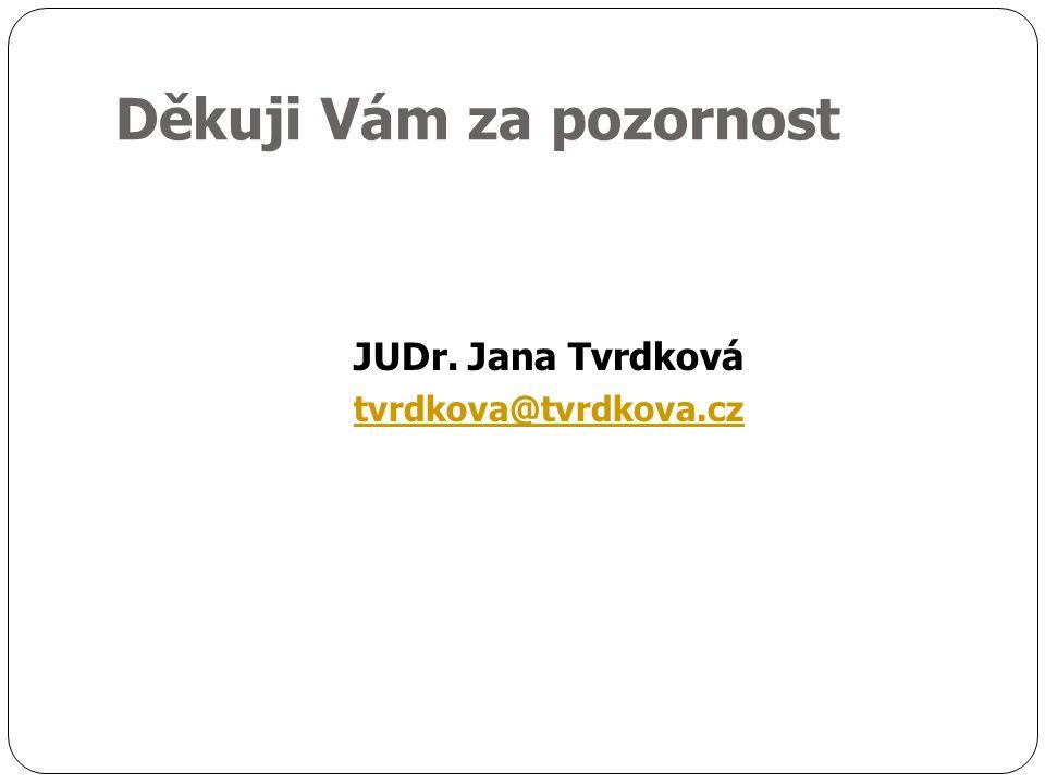 Děkuji Vám za pozornost JUDr. Jana Tvrdková tvrdkova@tvrdkova.cz