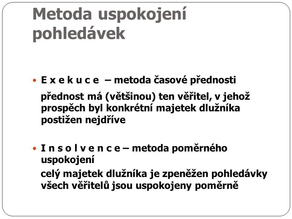 Metoda uspokojení pohledávek E x e k u c e – metoda časové přednosti přednost má (většinou) ten věřitel, v jehož prospěch byl konkrétní majetek dlužníka postižen nejdříve I n s o l v e n c e – metoda poměrného uspokojení celý majetek dlužníka je zpeněžen pohledávky všech věřitelů jsou uspokojeny poměrně