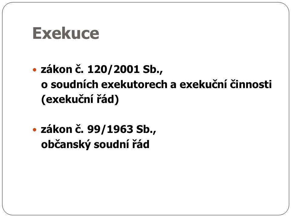 Exekuce zákon č. 120/2001 Sb., o soudních exekutorech a exekuční činnosti (exekuční řád) zákon č.