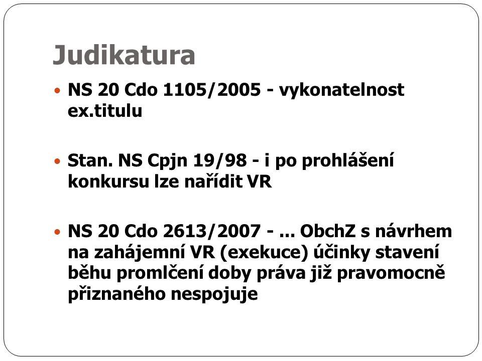 Judikatura NS 20 Cdo 1105/2005 - vykonatelnost ex.titulu Stan.