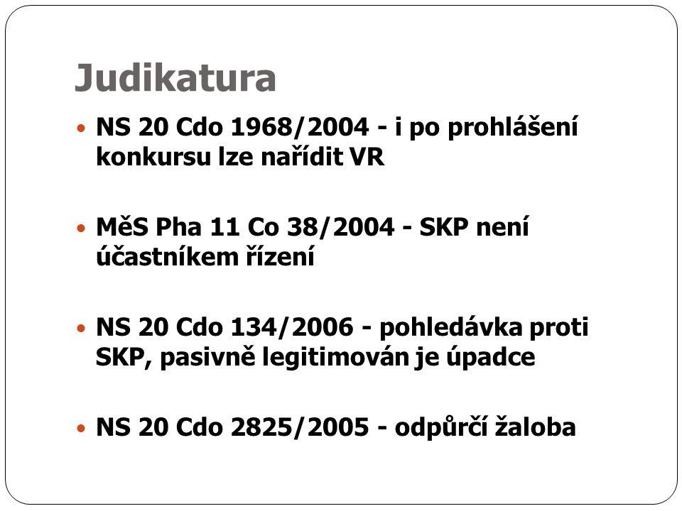 Judikatura NS 20 Cdo 1968/2004 - i po prohlášení konkursu lze nařídit VR MěS Pha 11 Co 38/2004 - SKP není účastníkem řízení NS 20 Cdo 134/2006 - pohledávka proti SKP, pasivně legitimován je úpadce NS 20 Cdo 2825/2005 - odpůrčí žaloba