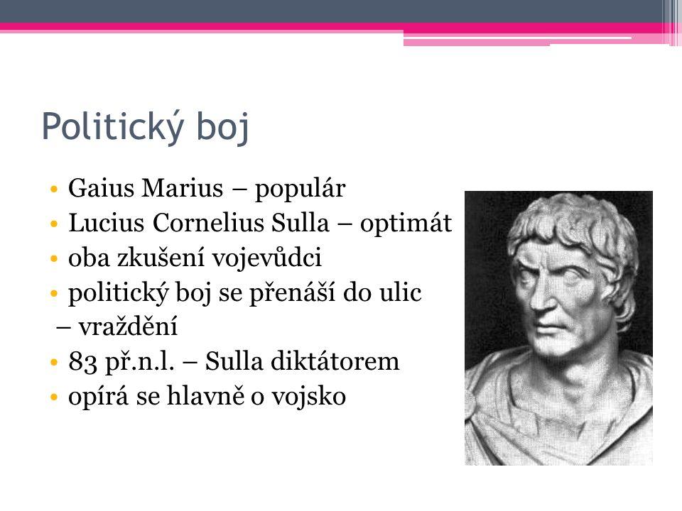 Politický boj Gaius Marius – populár Lucius Cornelius Sulla – optimát oba zkušení vojevůdci politický boj se přenáší do ulic – vraždění 83 př.n.l.