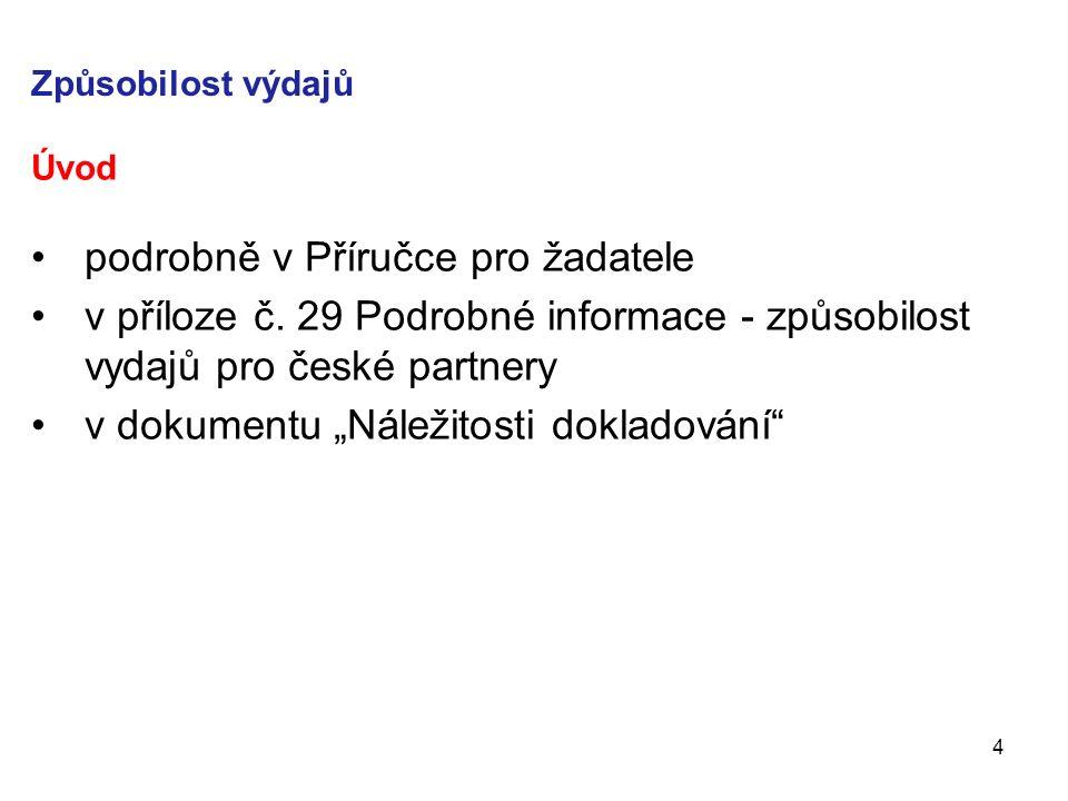 Způsobilost výdajů Úvod podrobně v Příručce pro žadatele v příloze č.